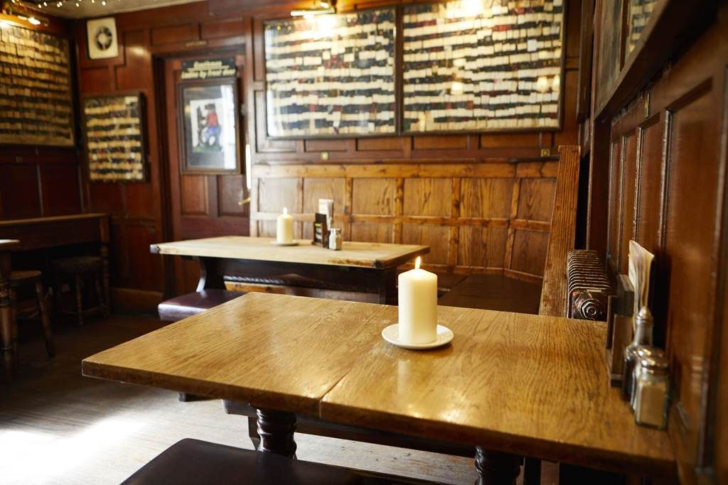 Interior of the Bear Inn, an old and small pub in central Oxford