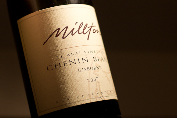 Closeup of the label on a bottle of Millton Te Arai Chenin Blanc