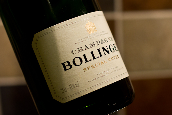 A bottle of Bollinger Special Cuvee Champagne