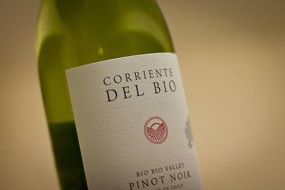 A bottle of Corriente Del Bio Pinot Noir from Marks & Spencer