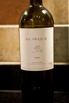 A bottle of El Seque 2006 from Alicante, Spain