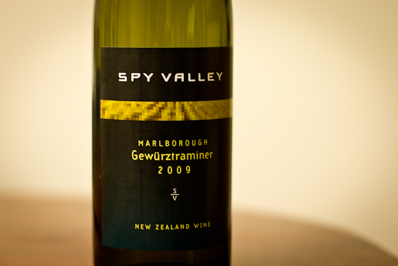 A bottle of Spy Valley Gewurtztraminer from New Zealand