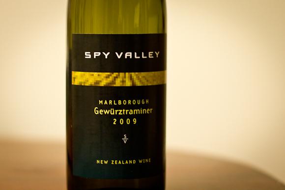 A bottle of Spy Valley Gewurtztraminer from New Zealand