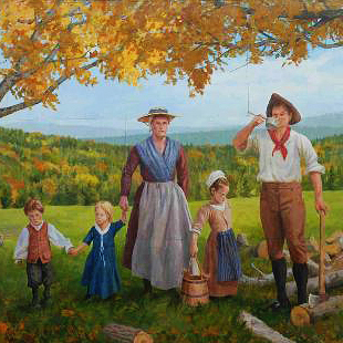 A painting depicting a family of pioneers in a verdant rural landscape