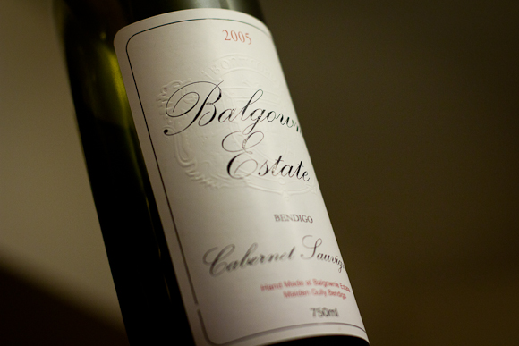 A bottle of Balgownie Estate Cab Sauv