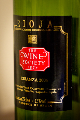 Closeup of the label of the Society's Rioja Crianza 2006
