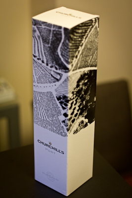 The box in which my bottle of Churchill's Tawny Port came. A rare example of modern, tasteful wine packaging. The box features striking, high-contrast black and white aerial photography of vineyards to create a brilliant patchwork of textures