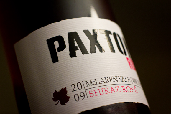 Closeup of the label of Paxton's Shiraz Rose