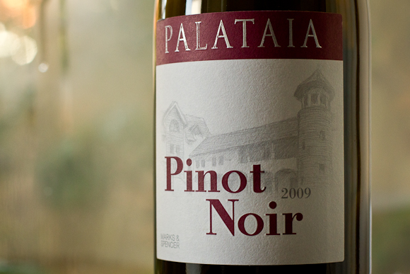 A closeup of the label of Palataia Pinot Noir from Marks & Spencer