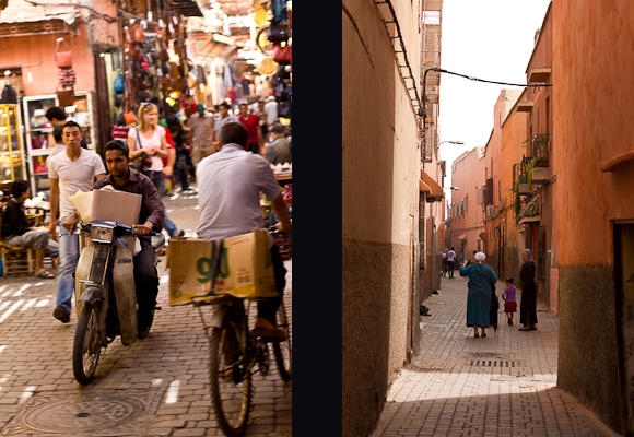 Composite image. On the left, a man rides his moped through a crowded Moroccan souk; on the right, a narrow Marrakech street