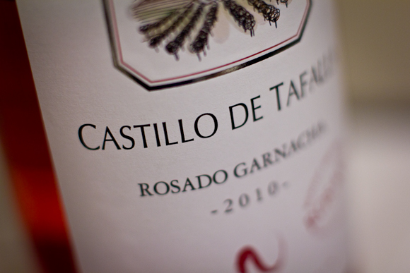 A macro shot of the label of a bottle of Castillo de Tafalla rose from Spain