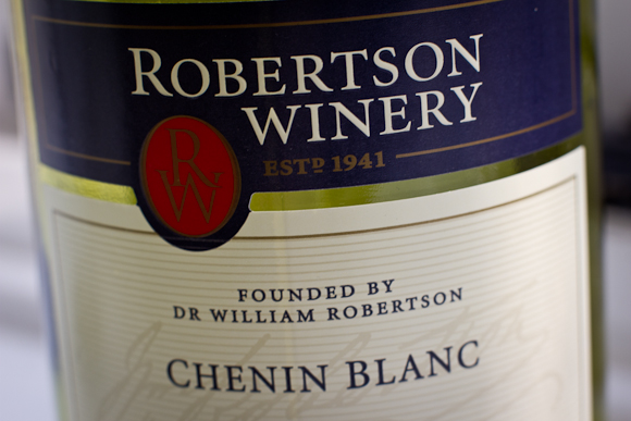 Macro closeup of the label of a bottle of Robertson Winery Chenin Blanc