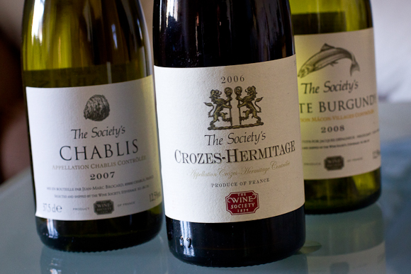In the foreground, Crozes-Hermitages; background, The Society's Chablis and White Burgundy