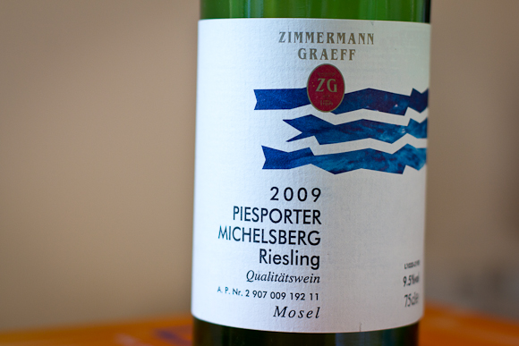 The label of this (unpleasant) bottle of Riesling, featuring some funkyish blue graphics