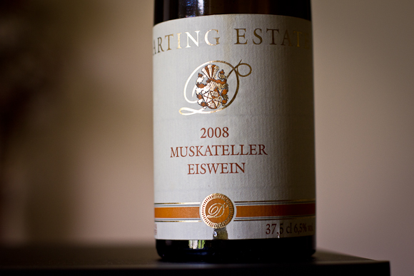 A half-bottle of Darting Estate Eiswein. Simple label with crest and traditional typography