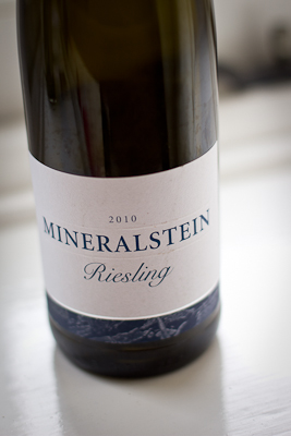 The simple, minimal label of Marks & Spencer's Mineralstein Riesling: blue text on a white background