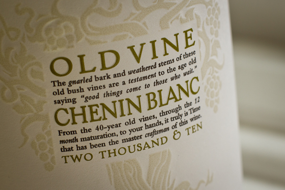 Closeup of the typographically elegant label of this bottle of Old Vine Chenin Blanc
