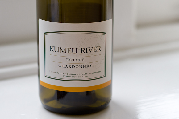 A bottle of Kumeu River Estate Chardonnay: simple typographic label