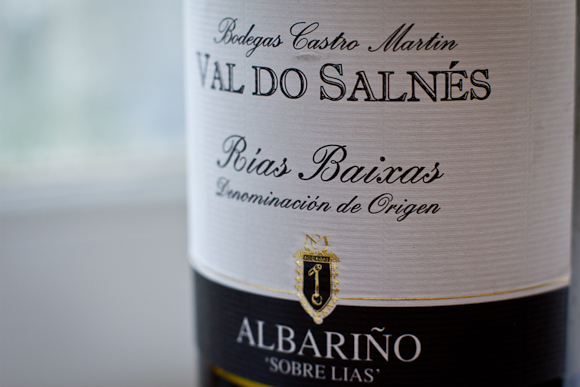 Closeup of the label of this Albarino from Marks and Spencer. Elegant bottle and label, black, white and gold