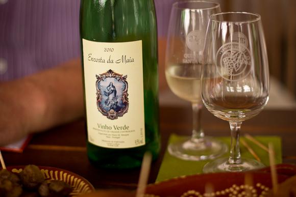 A bottle of Encosta da Maia, Vinho Verde, and some glasses