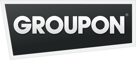 The logo for Groupon: white text on black background