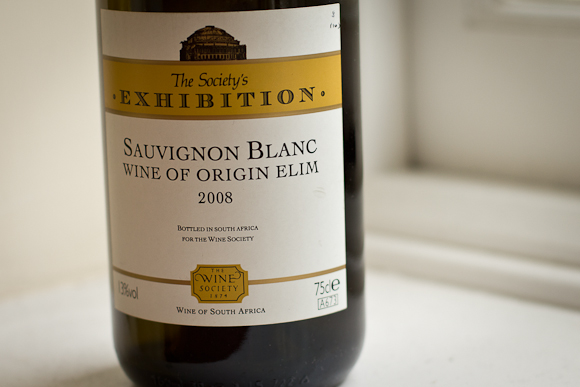 A bottle of this South African Sauvignon Blanc from the Wine Society. Classic Exhibition range label