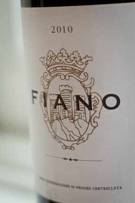 Macro closeup of the label of Marks & Spencer's Fiano — black lettering on a golden crest