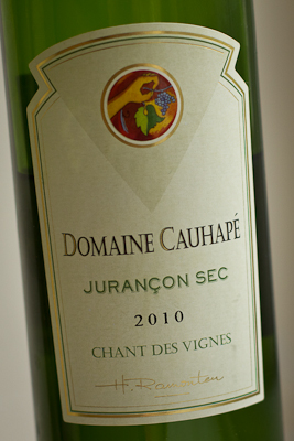 A closeup of the label of this Jurancon Sec half bottle from The Wine Society