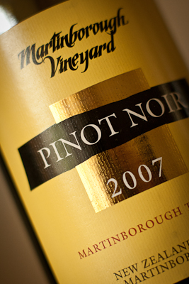 Close-up of the yellow label of a bottle of 2007 Pinot Noir from Martinborough Vineyards