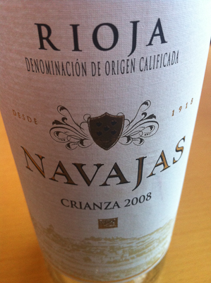 Closeup of the label of a bottle of white Rioja