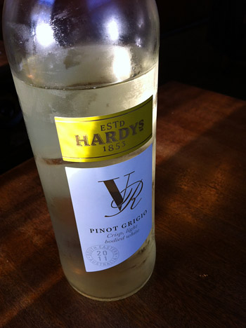 A cold bottle of Pinot Grigio made by Hardys