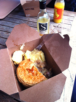 A pie and potato from Eat (in disposable pie box) and a mini bottle of Stowells white wine
