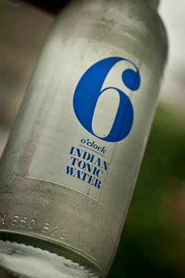 A bottle of tonic water by 6 o'clock