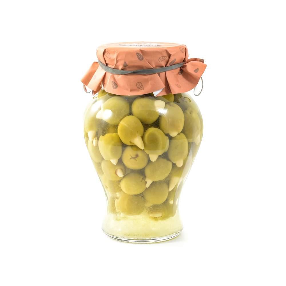Jar of almond-stuffed Manzanilla olives
