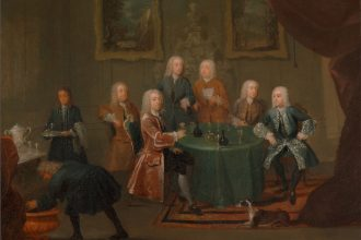 Painting of aristocratic gentlemen in a drawing room taking their wine. A servant skulks to the left...