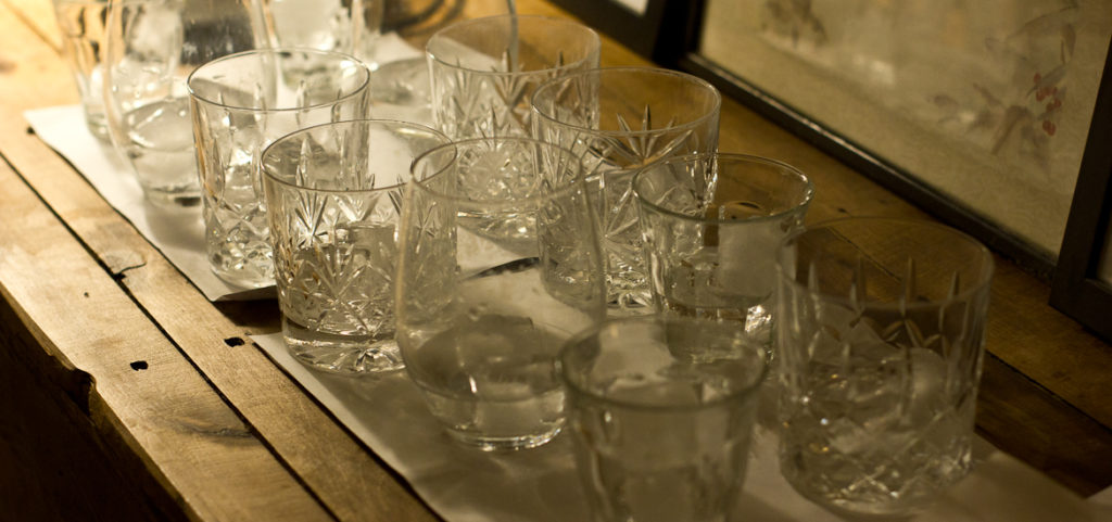 An assortment of glasses filled with tonic ready for tasting