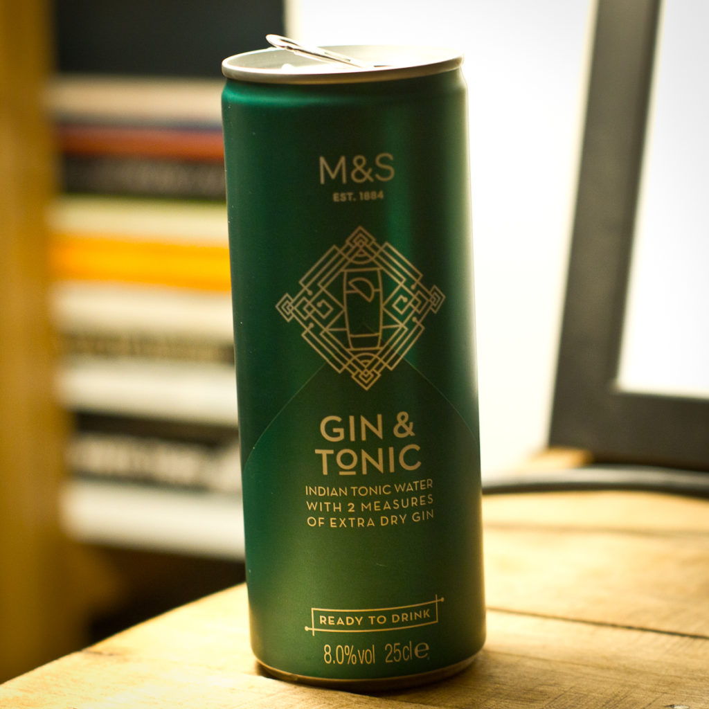 Can of Marks & Spencer Gin & Tonic in a can