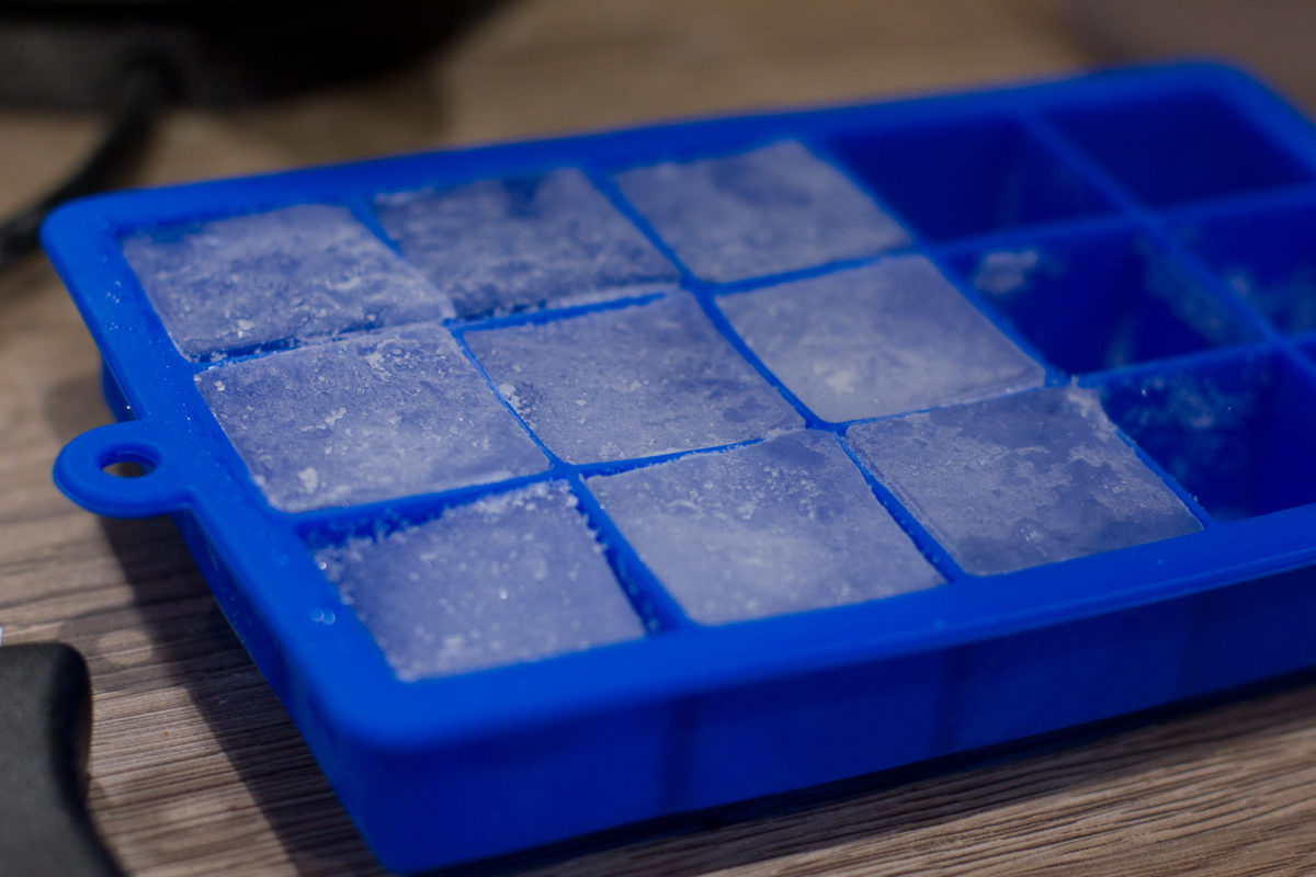 Tray of ice cubes