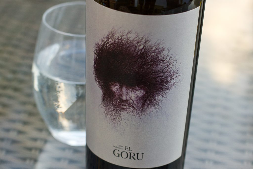 Ego Bodegas El Goru -- wine bottle label with illustration of wild-haired old man