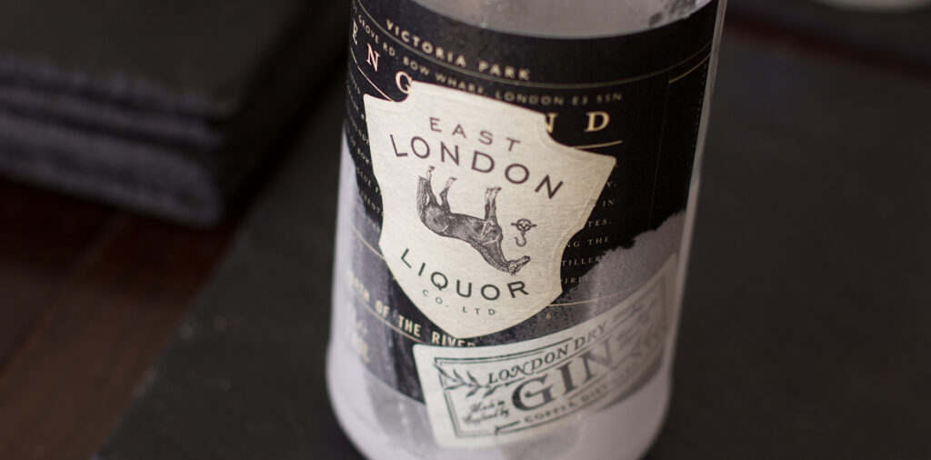 East London Liquor Gin bottle label