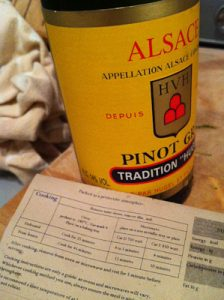 Bottle of Hugel Pinot Gris and some oven ready meal instructions