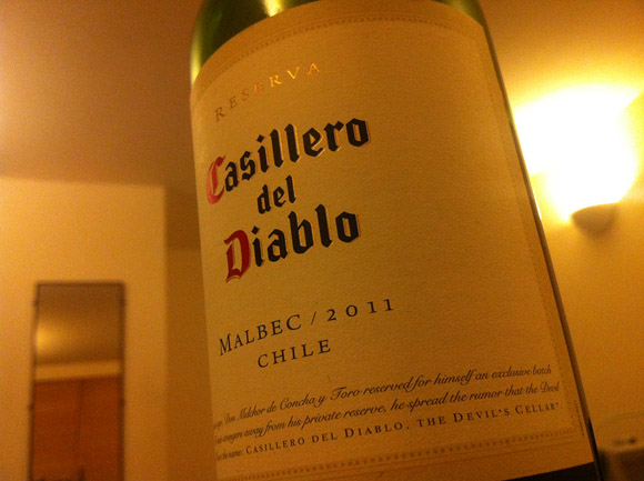 Bottle of Casillero del Diablo red wine label