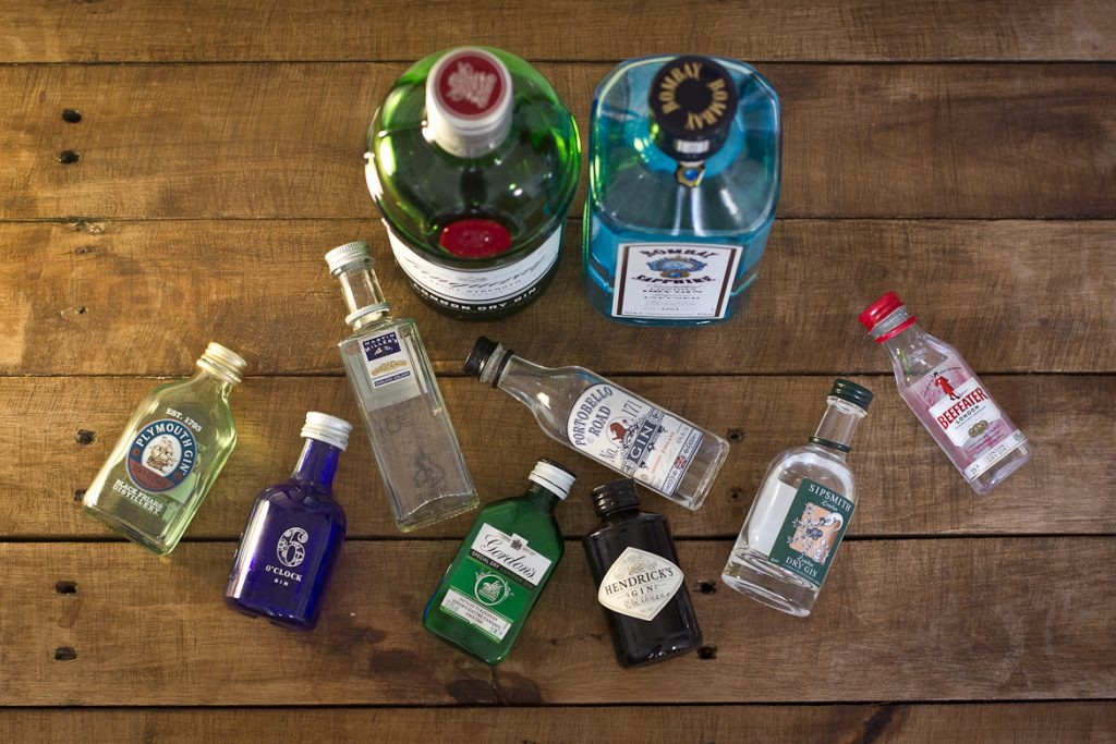 Contenders for the best gin for gin and tonic, shot from above