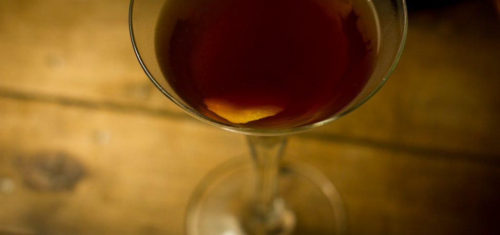 Closeup of the surface of an English Hanky Panky cocktail