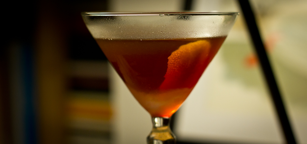 Closeup of an English Hanky Panky cocktail made with Asterley Bros Vermouth and Fernet