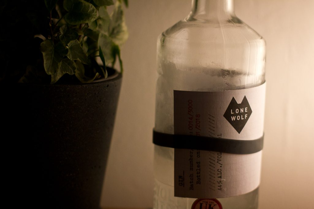 Bottle of Lone Wolf Gin close-up
