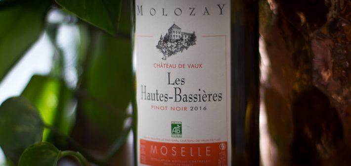 Bottle of Molozay les Hautes-Bassieres Moselle Pinot Noir 2016 from Chateau de Vaux