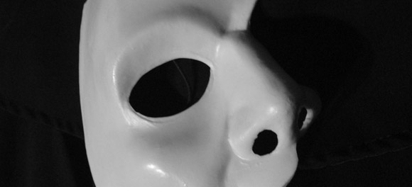 A photo of a white plastic mask as seen in Phantom of the Opera