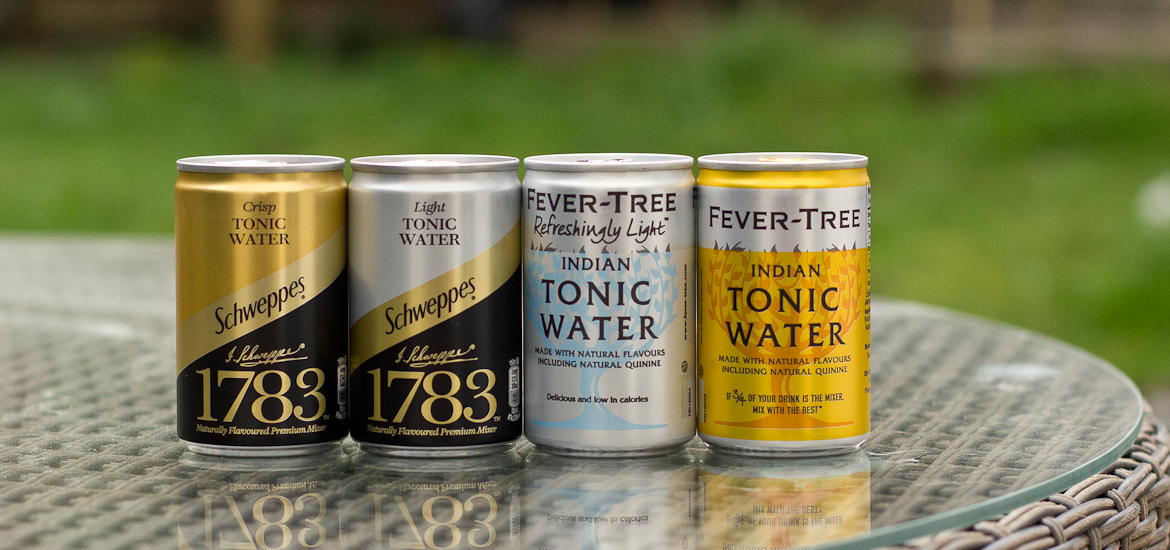 Line up of tonic water mini-cans by Schweppes 1783 and Fever Tree