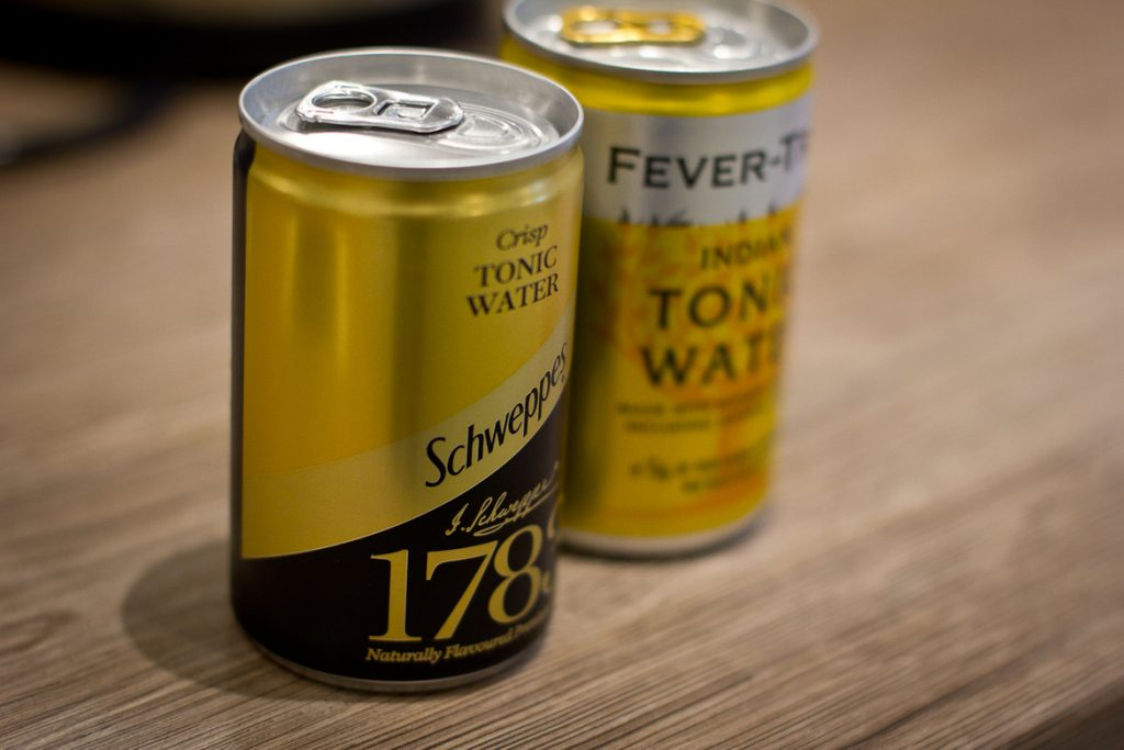 Mini-cans of Schweppes 1783 Crisp Tonic water and Fever Tree Premium Indian Tonic Water